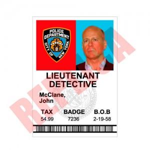 Replica Identificacion Jhon McClane
